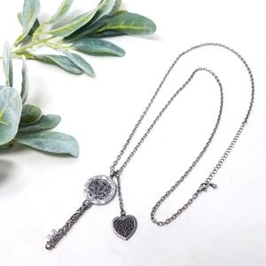 KEY Pendant Long Silver Chain Heart Charm